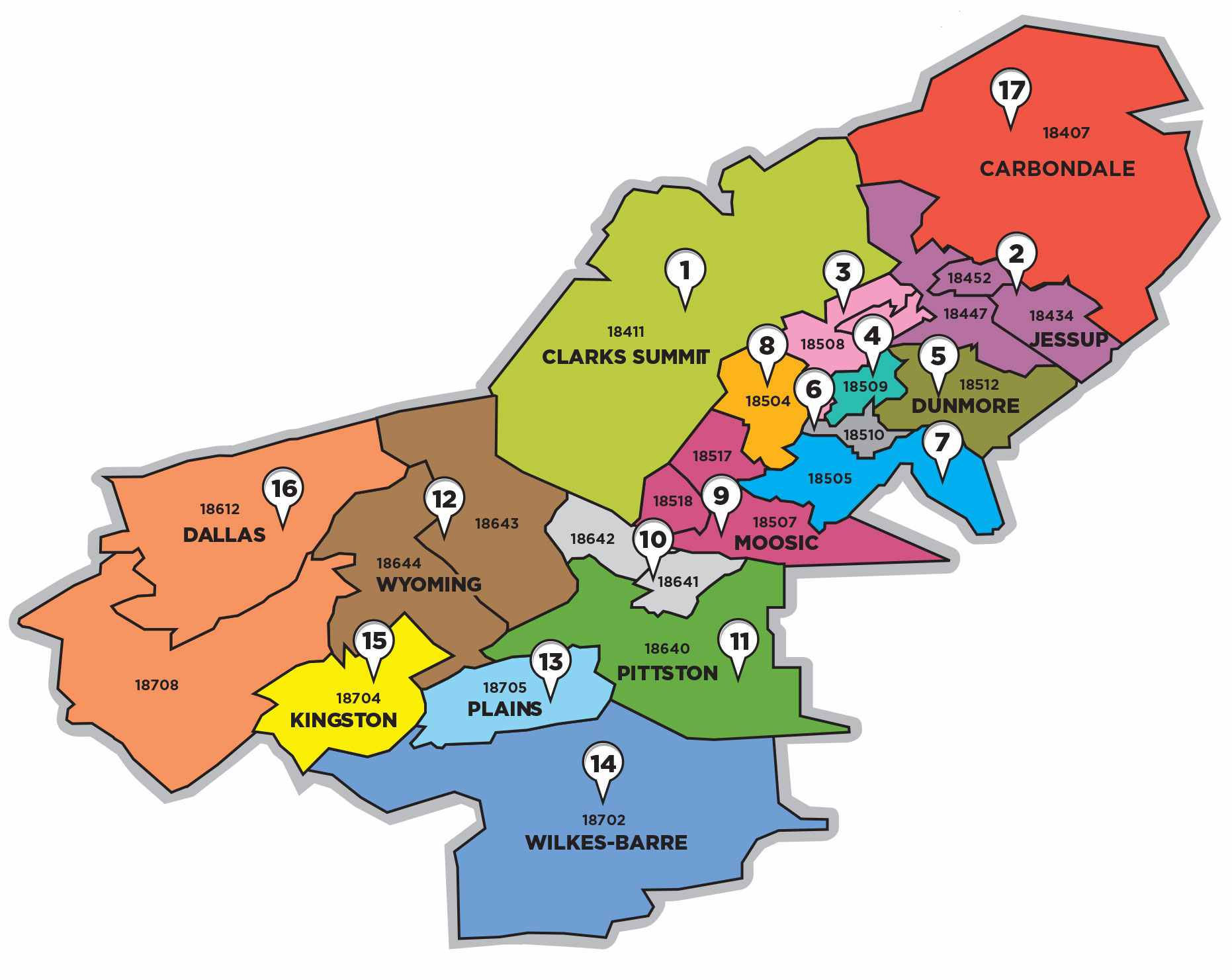 Coverage Map | Largest Advertising Circulation From Carbondale to Shavertown!